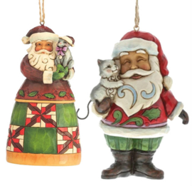 Set van 2 Jim Shore Hanging ornament Santas with Cat
