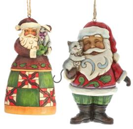 Set van 2 Jim Shore Hanging ornament Santas with Cat