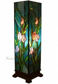 5749 Windlicht Tiffany H58 cm met Tulpen