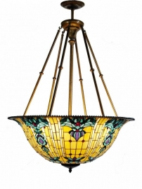 5387 Super grote Tiffany hanglamp Ø92cm Blue-Oyster