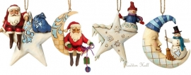 "Set van 4 Hanging Ornament ""Santa On Star"" ""Crescent Moon Santa""""Snowman On Star"" ""Crescent Moon Snowman"""