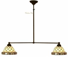 1136 Hanglamp B90cm met 2 Tiffany kapjes Ø26cm Filigrees
