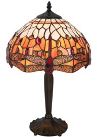 5204 Tafellamp Tiffany H46cm Ø31cm Flame Dragonfly