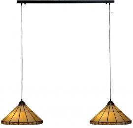3088 Balk B80cm Donkerbrons met 2 Tiffany kappen Ø41cm Serenity