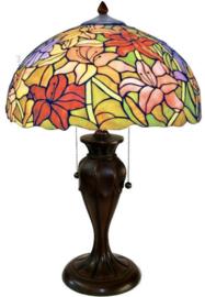 TT37 Tafellamp Bruin met Tiffany kap Ø41cm Lilly Multicolor
