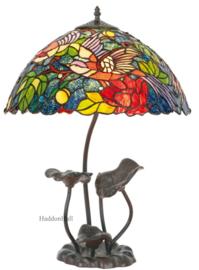 KT2666 N081 Tafellamp H61cm met Tiffany kap Ø40cm Birds of Paradise