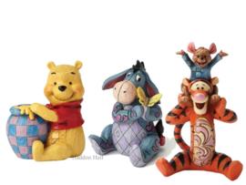 Winnie  Eeyore Tigger & Roo Set van 3  Mini-figurines H10cm Jim Shore