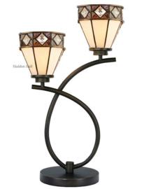 73088 Tafellamp Uplight H55cm met 2 Tiffany kappen Ø14cm Fargo