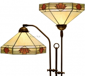 "TM16S Vloerlamp met 2 Tiffany kappen Ø30cm ""Nevada"""