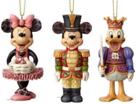 MICKEY MINNIE  & DONALD Nutcracker H10cm Set van 3 Jim Shore Hanging Ornaments A29383