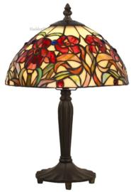 YT19 Tafellamp Zwart H36cm met Tiffany kap Ø25cm Red Orchid