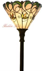 T095S FL395 Vloerlamp Zwart Uplight H175cm met Tiffany kap Ø30cm