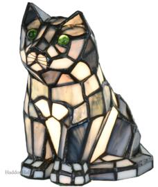 6166G Tiffany lamp H16cm Grey Cat