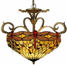 1102 H55 Hanglamp Tiffany Ø56cm Beige Dragonfly