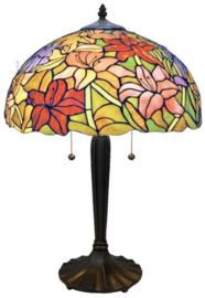 TT37 Tafellamp Zwart H60cm met Tiffany kap Ø41cm Lilli Multicolor