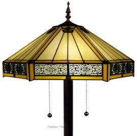 YT2953 9454 Vloerlamp Bruin H165cm met Tiffany kap Ø53cm Portum