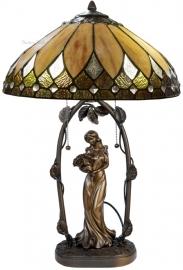 "T048M 5769 Tafellamp Jugendstil H62cm met Tiffany kap Ø40cm ""Brooklyn"""