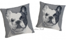 Set van 2 Kussens Gobelin Geweven45x45cm Franse Bulldog