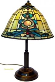 9004 Tafellamp Tiffany H38cm Ø26cm Blue-Oyster