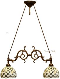 5879 Hanglamp met 2 Tiffany kappen Ø20cm Creme Pearl