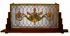 5305 Voorzetraam Tiffany op voet 50x109cm  Jugendstiltulp handmade