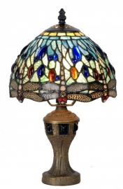"9891 Tafellamp Tiffany H33cm Ø21cm  ""Blue Dragonfly"" motief blauwe libelle"