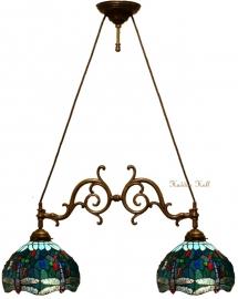"T9S Hanglamp met 2 Tiffany kappen Ø30cm ""Blue Dragonfly"""