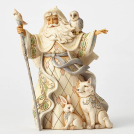 One Love for All  H 26cm Jim Shore 4053686 White Woodland Santa Kerstman