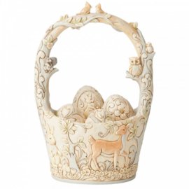 Find Your Path - White Woodland Easter Basket with 4 Egg H21,5cm Jim Shore 6003998