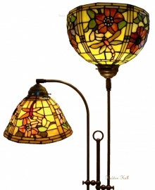 9111-9932 Vloerlamp Half Rond met 2 Tiffany kappen Ø26 & Ø30cm  Garden Dragonfly