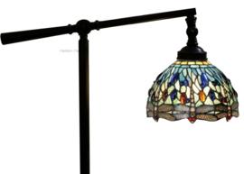9891 Vloerlamp Verstelbaar H140-155cm met Tiffany kap Ø20cm Blue Dragonfly