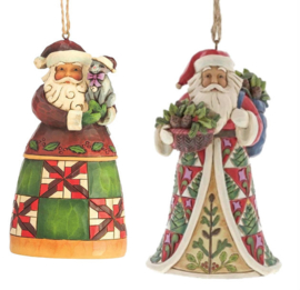 Set van Jim Shore Santas Hanging Ornament - Santa with Cat - Pinecone Santa