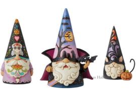 Gnomes Set van 3 - Day of the Dead , Vampire & Black Cat H18cm Jim Shore