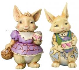 """""""Happy Easter Wishes"""" Set van 2 Bunnies Jim Shore 4037675  4037676"""