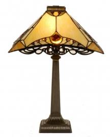 5313 Tafellamp H49cm met Tiffany kap 35x35cm Amber