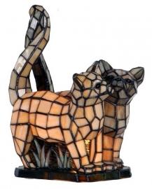 1187 Tiffany lamp H36cm  Twee poezen Siamese Tweeling