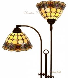 8828 Vloerlamp Half Rond met 2 Tiffany kappen Ø26cm Victoria