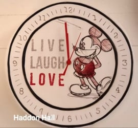 "Klok Mickey Mouse ""Live, Laugh, Love.."" Ø30cm - Disney by Egan"