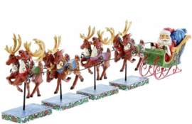 """Dash Away All"" B38cm Santa & Reindeers set Jim Shore"