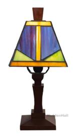 LPT1901 Tafellamp Hout H31cm met Tiffany kap 13x13cm Woody