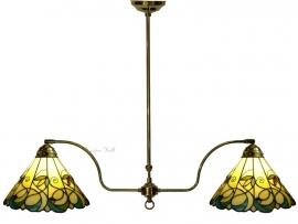 "T095S  Hanglamp Messingkleur B110cm met 2 Tiffany kappen Ø30cm ""Jamelia"""