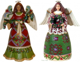 "Set van 2 Jim Shore Engelen H25cm ""Glorious Garland""&""Prepare For Christmas Joy"""