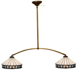5198 Hanglamp met 2 Tiffany kappen Ø30cm Fargo