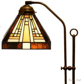 7904 708H Vloerlamp Haaks met Tiffany kap 18x18cm Rising Sun