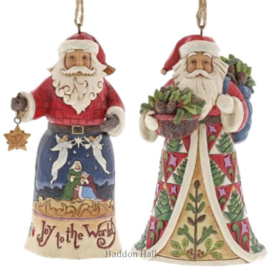 Set van 2 Hanging ornament  Joy to the World - Pinecone Santa - Jim Shore
