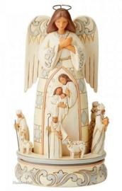 White Woodland Rotating Nativity Angel  H24,5cm Jim Shore 6005689