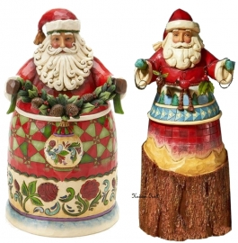 "Set van 2 Kerstmannen H26cm ""Beauty comes from within""&""Nature's Noel"""