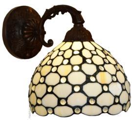 5879 Wandlamp Bruin met Tiffany kap Ø20cm Creme Pearl