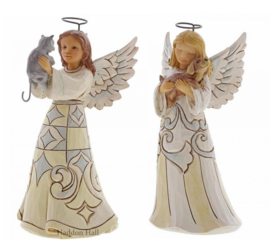 """Faithful Friends"" Set van 2  White Woodland Angels with Cat & Dog"
