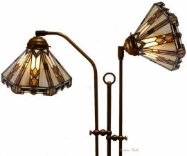 9113 Vloerlamp Haaks met 2 Tiffany kappen Ø25cm Durban